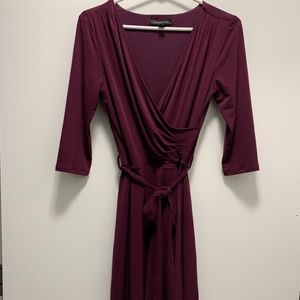 Wrap Knit Dress - Plum, Size Small